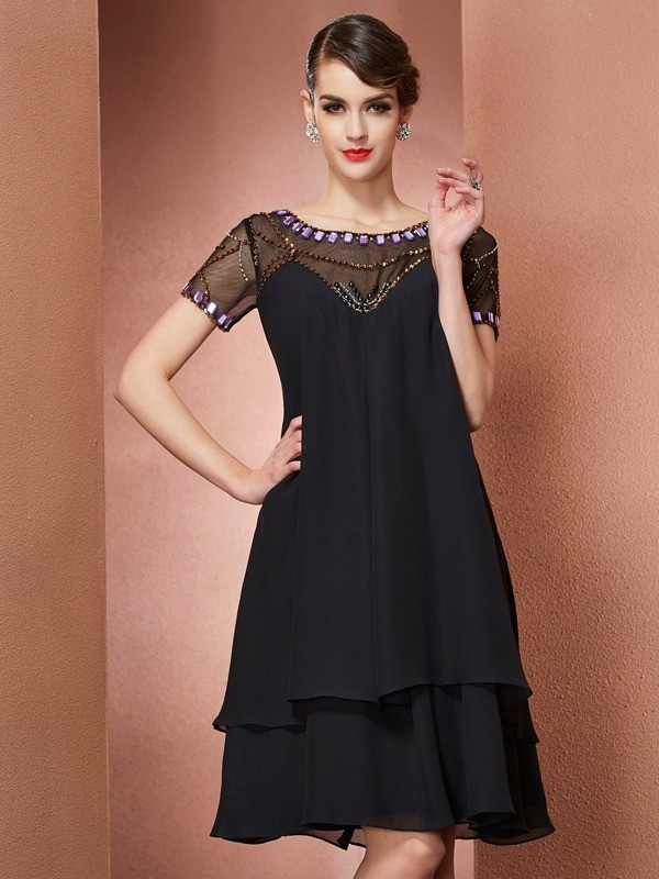 A-Line/Princess Scoop Short Sleeves Beading Short Chiffon Mother of the Bride Dress
