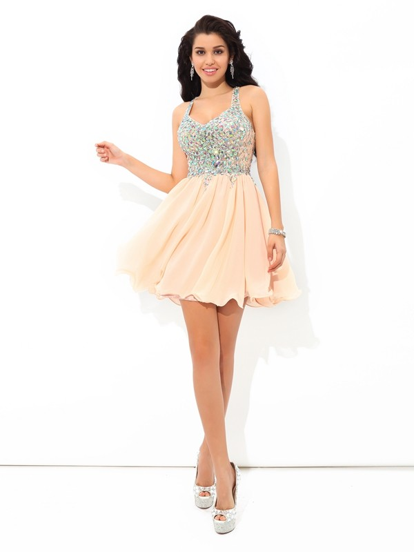A-Line/Princess Straps Short Chiffon Cocktail Dress