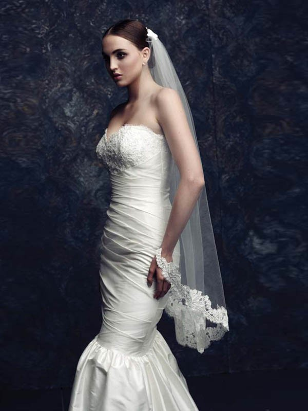 Tulle With Lace Wedding Veils ZDRESS2867