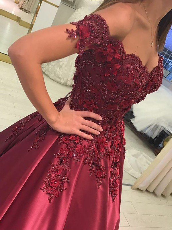Ball Gown Off-the-Shoulder Applique Satin Floor-Length Dress