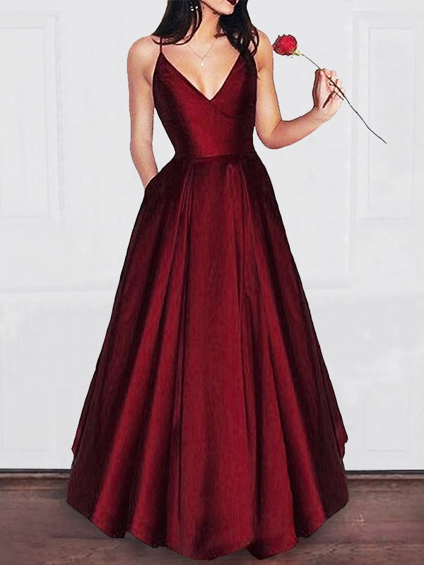 A-Line/Princess Floor-Length Ruffles V-neck Satin Dress