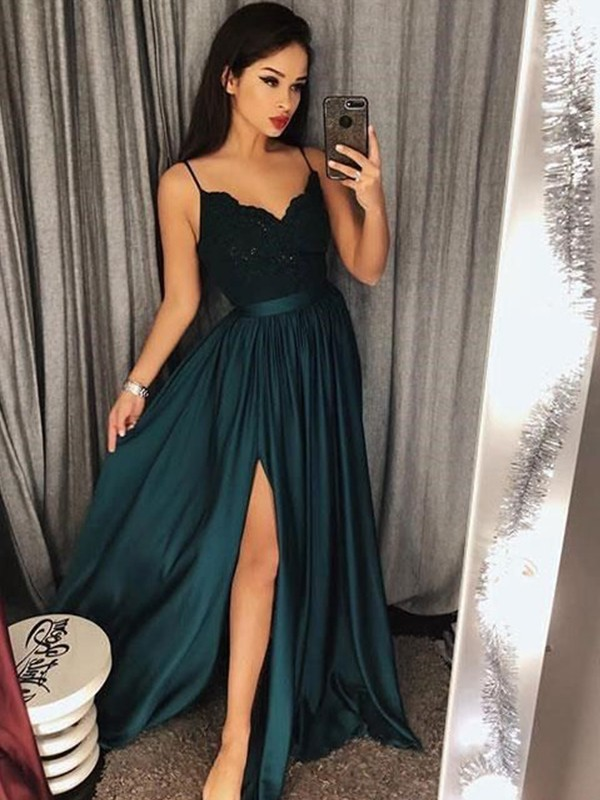 A-Line Spaghetti Straps Floor-Length With Silk like Satin Dress with Lace