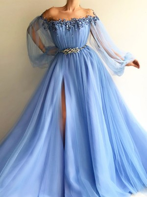 A-Line/Princess Long Sleeves Off-the-Shoulder Tulle Beading Long Dress