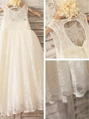 A-line/Princess Scoop Ankle-Length Flower Girl Dress with Lace