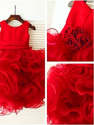 Ball Gown Scoop Layers Knee-Length Organza Flower Girl Dress