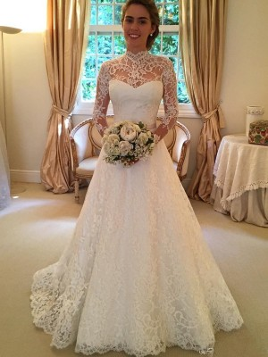 Ball Gown High Neck Long Sleeves Lace Court Train Wedding Dress