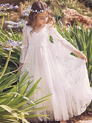 A-Line/Princess V-neck Floor-Length Flower Girl Dress with Lace
