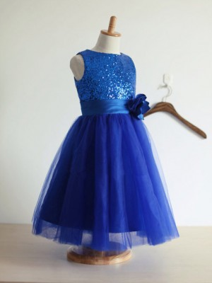 A-line/Princess Jewel Hand-Made Flower Tulle Tea-Length Dress