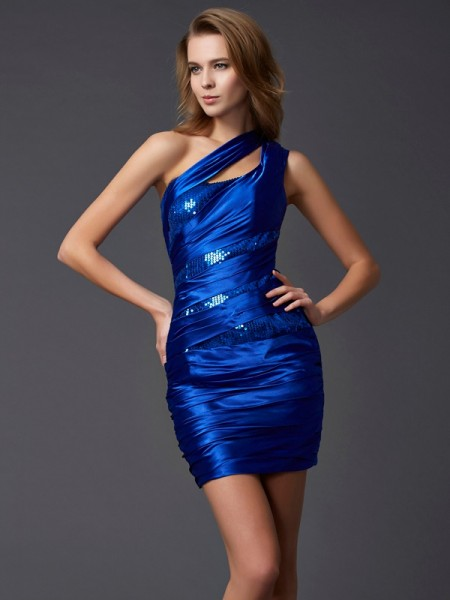 Sheath/Column One-Shoulder Paillette Short Silk like Satin Homecoming Dress