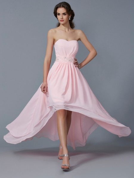 A-Line/Princess Sweetheart Beading High Low Chiffon Homecoming Dress