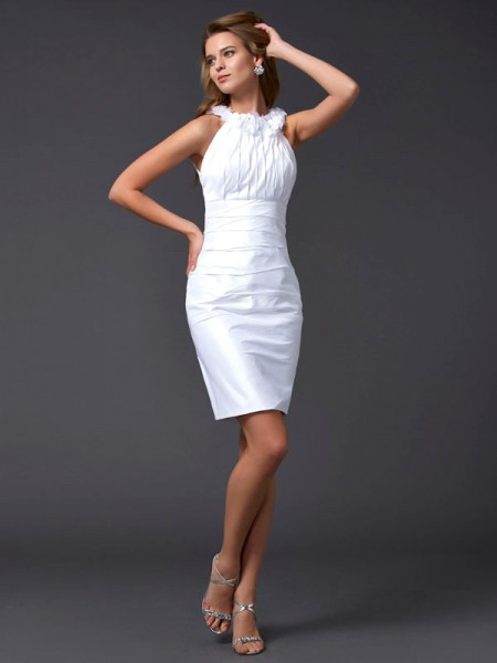 Sheath/Column High Neck Short Taffeta Homecoming Dress