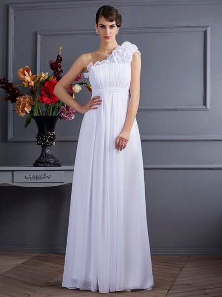 A-Line/Princess One-Shoulder Pleats Applique Dress with Long Chiffon