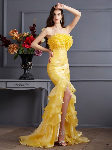 Trumpet/Mermaid Strapless Ruffles Long Tulle Dress