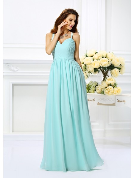 A-Line/Princess Spaghetti Straps Pleats Dress with Long Chiffon