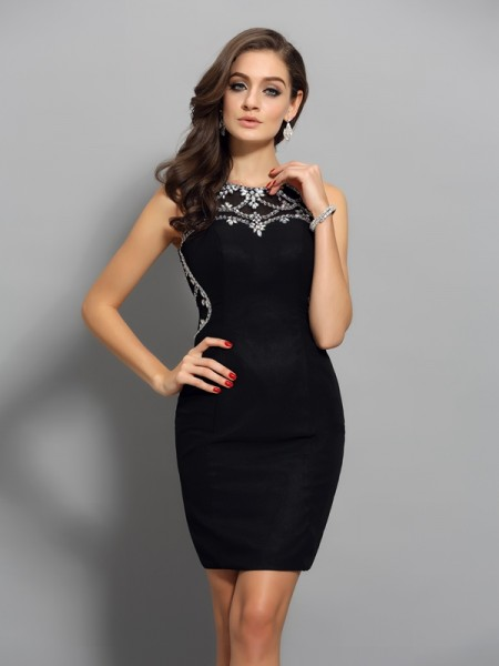 Sheath/Column Scoop Beading Short Chiffon Cocktail Dress