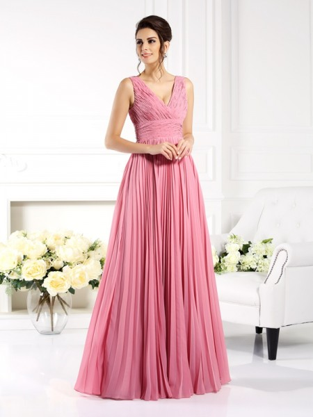 A-Line/Princess Sweetheart Pleats Mother of the Bride Dress with Long Chiffon