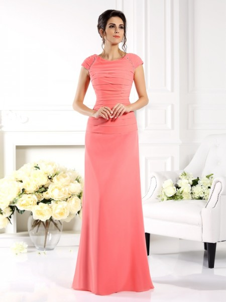 A-Line/Princess Bateau Short Sleeves Mother of the Bride Dress with Long Chiffon