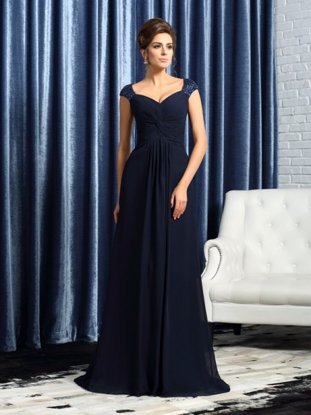 A-Line/Princess Straps Beading Mother of the Bride Dress with Long Chiffon