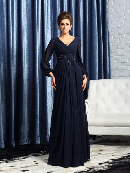 A-Line/Princess V-neck Beading Long Sleeves Mother of the Bride Dress with Long Chiffon