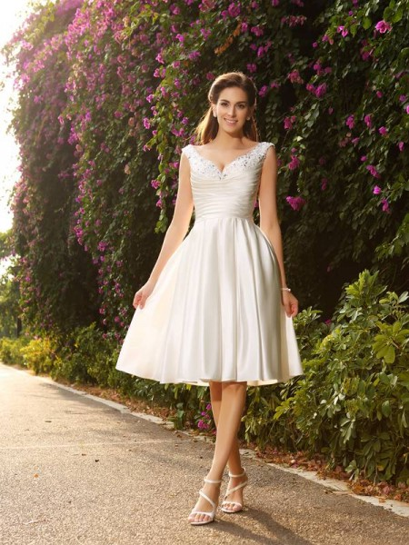 A-Line/Princess V-neck Beading Short Satin Wedding Dress