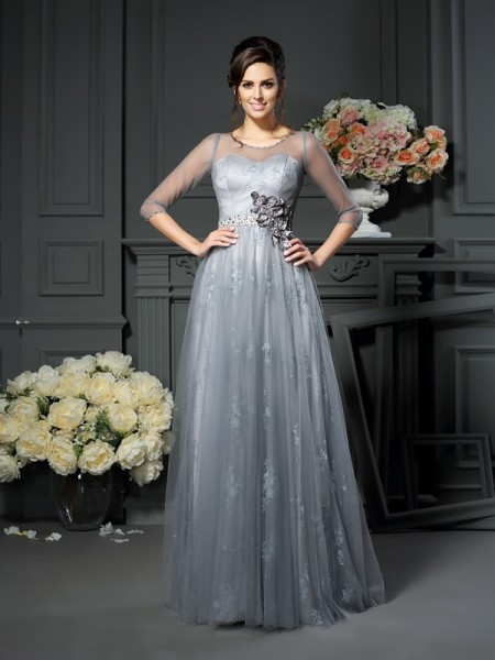 A-Line/Princess Scoop Lace 1/2 Sleeves Long Satin Mother of the Bride Dress