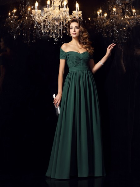 A-Line/Princess Ruched Dress with Long Chiffon