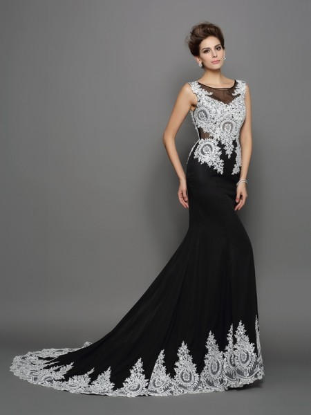 Trumpet/Mermaid Scoop Lace Dress with Long Chiffon
