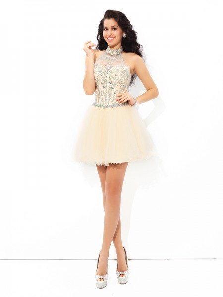 A-Line/Princess Halter Beading Short Satin Cocktail Dress