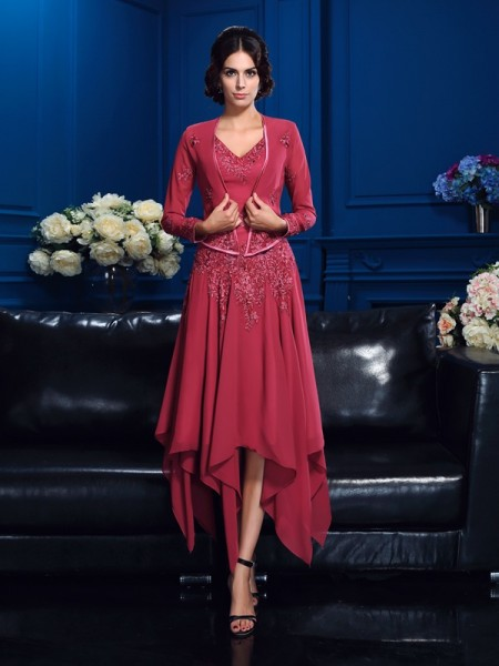 A-Line/Princess V-neck Applique High Low Chiffon Mother of the Bride Dress