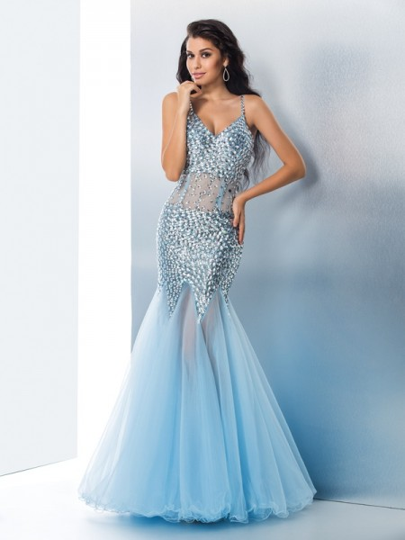 Trumpet/Mermaid Spaghetti Straps Sequin Long Organza Dress