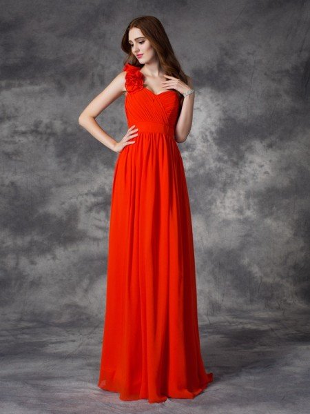 A-line/Princess One-Shoulder Chiffon Bridesmaid Dress