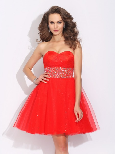 A-Line/Princess Sweetheart Rhinestone Short Net Dress