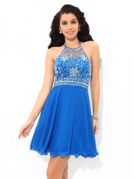 A-Line/Princess Halter Beading Short Chiffon Cocktail Dress
