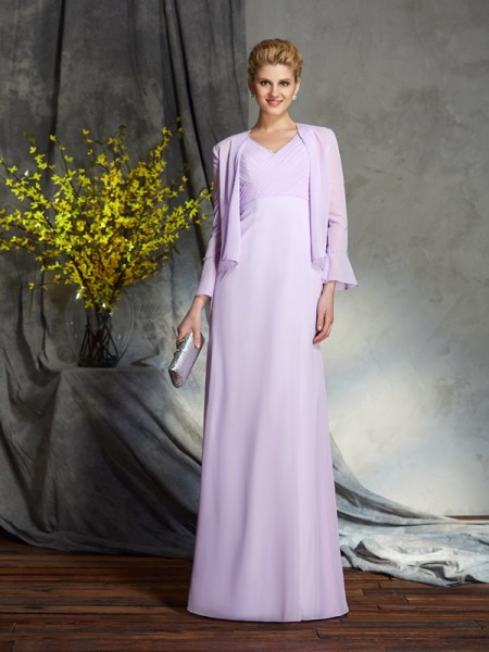 Sheath/Column V-neck Applique Chiffon Mother of the Bride Dress