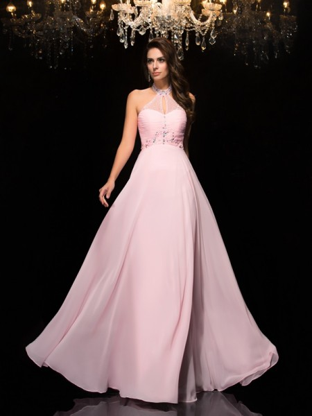 A-Line/Princess Halter Beading Chiffon Dress