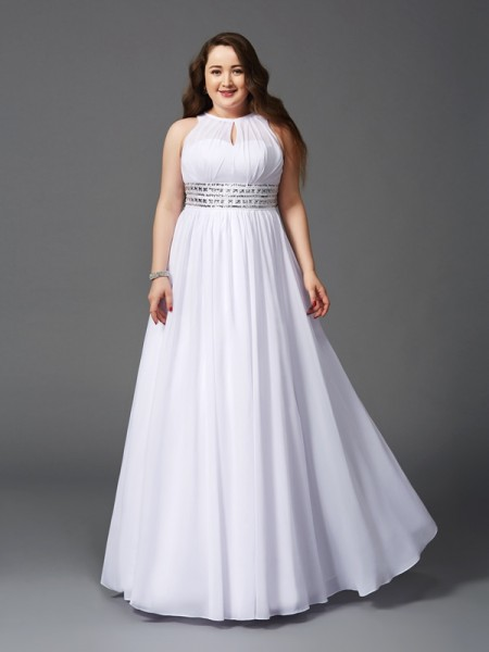 A-Line/Princess Jewel Beading Chiffon Plus Size Dress