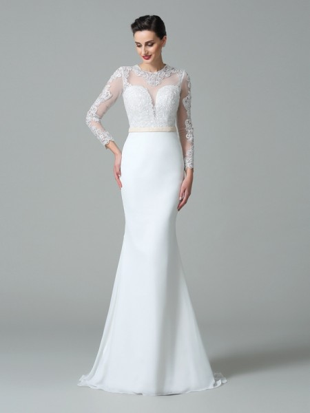 Trumpet/Mermaid Jewel Lace Long Sleeves Satin Wedding Dress