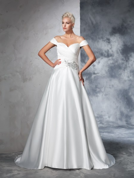 Ball Gown Off-the-Shoulder Ruched TaffetaWedding Dress