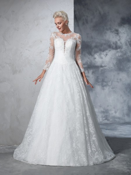 Ball Gown Jewel Lace Long Sleeves Lace Wedding Dress