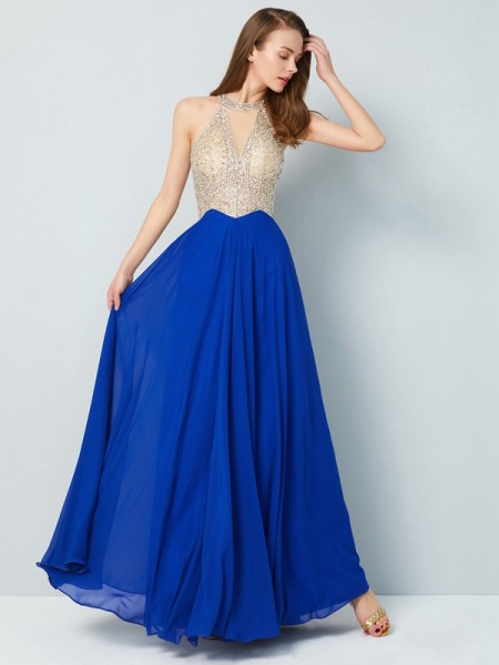 A-Line/Princess Scoop Floor-Length Crystal Chiffon Dress