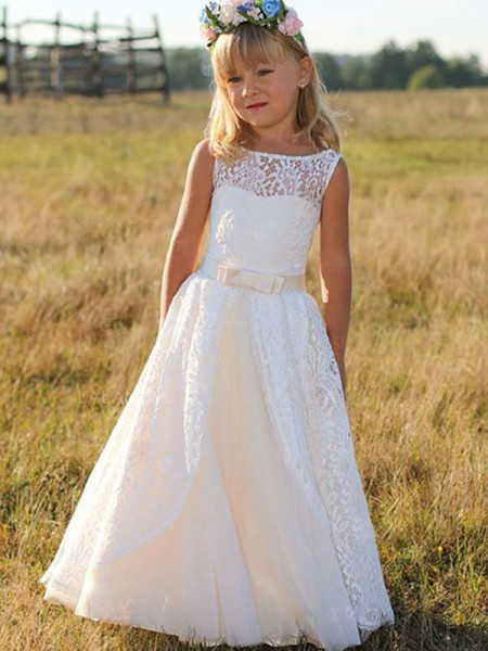 A-Line/Princess Sleeveless Scoop Long Sash/Ribbon/Belt Lace Flower Girl Dress