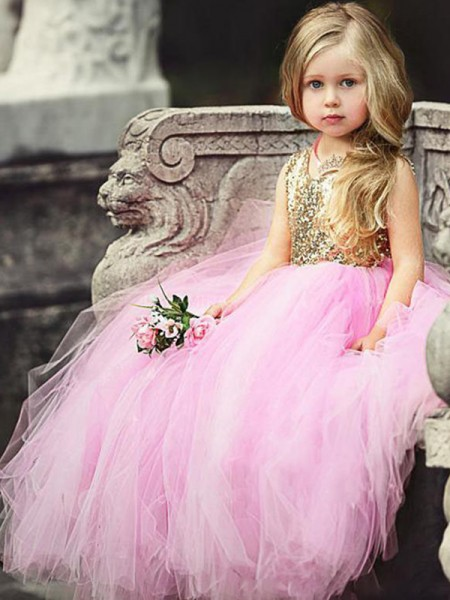 Ball Gown Sleeveless Scoop Long Sequin Tulle Flower Girl Dress