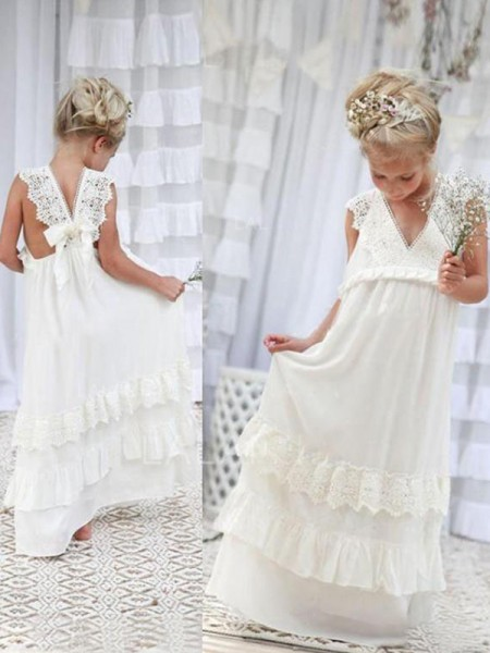 Empire Sleeveless V-neck Long Lace Chiffon Flower Girl Dress