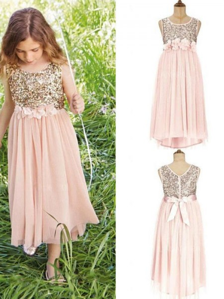 A-Line/Princess Sleeveless Scoop Asymmetrical Sequin Chiffon Flower Girl Dress