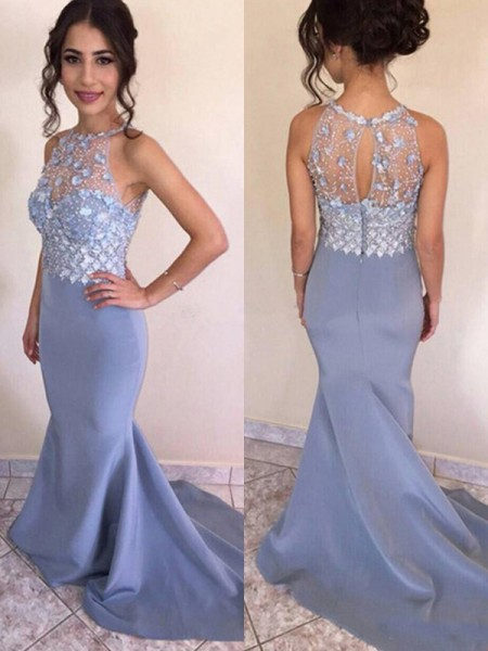 Trumpet/Mermaid Sleeveless Jewel Sweep/Brush Train Crystal Satin Dress