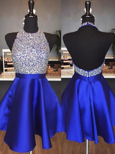 A-Line/Princess Halter Sleeveless Short/Mini Dresses with Satin
