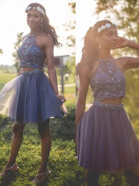 A-Line/Princess Halter Sleeveless Short/Mini Dresses with Tulle