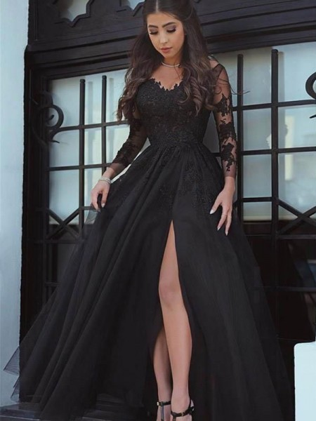 Ball Gown Long Sleeves Off-the-Shoulder Floor-Length Lace Dress
