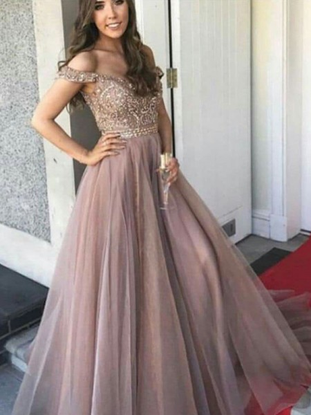 A-Line/Princess Sleeveless Off-the-Shoulder Long Tulle Beading Dress
