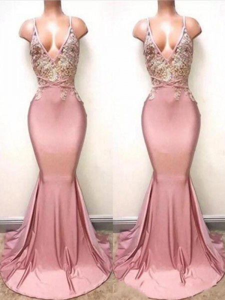 Trumpet/Mermaid Sleeveless V-neck Sweep/Brush Train Lace Satin Dress